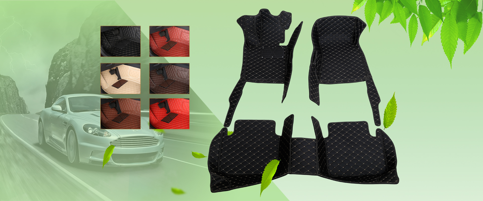 hand sewing fully enclosed 5D PU leather car mat
