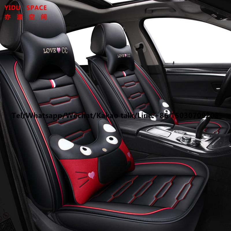 Car Accessories Car Decoration Cover Universal Cartoon Black Pure Leather Auto Car Seat Cushion
