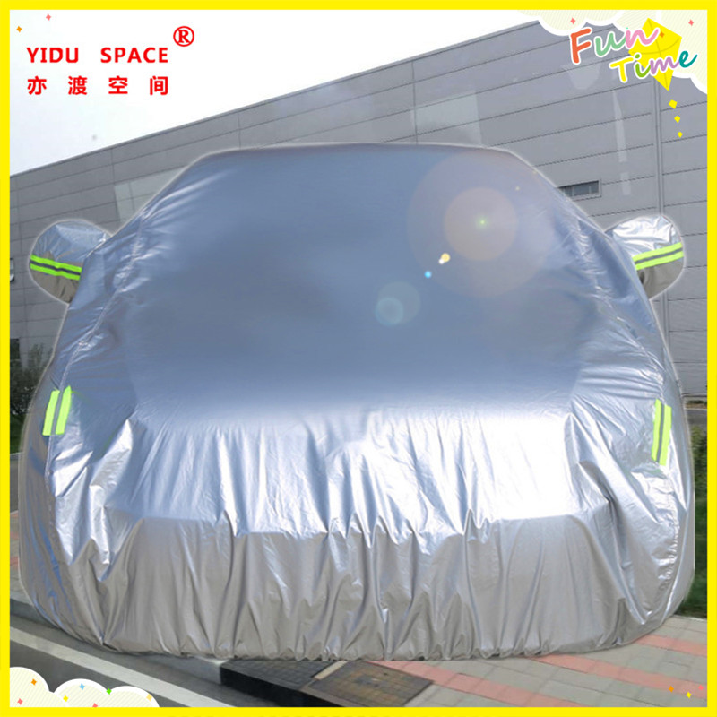Four seasons universal silver thick Oxford cloth car car cover mobile garage sun protection rainproof insulation car cover used ten years