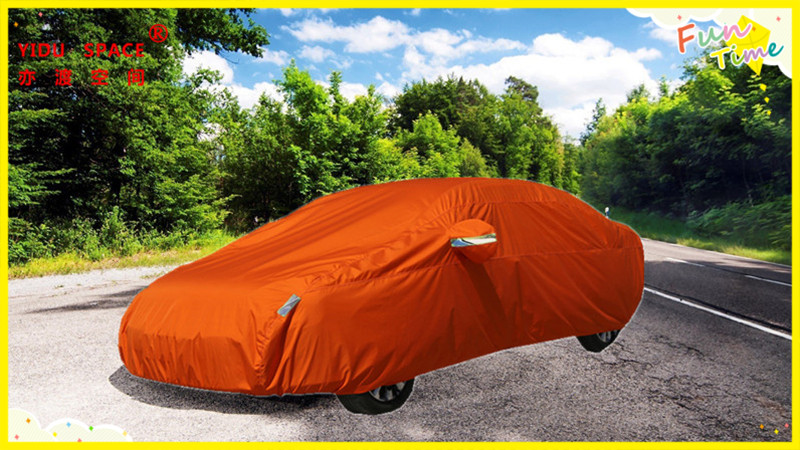 Four seasons universal orange thick Oxford cloth car car cover mobile garage sun protection rainproof insulation car cover used ten years.