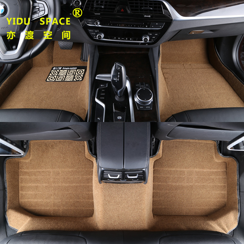 full enclosed 5D hot pressed lawn silk Khaki car mat