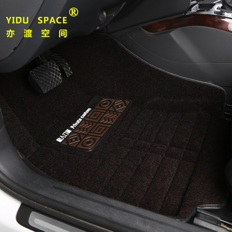 high quality full enclosed 5D hot pressed lawn silk black car mat