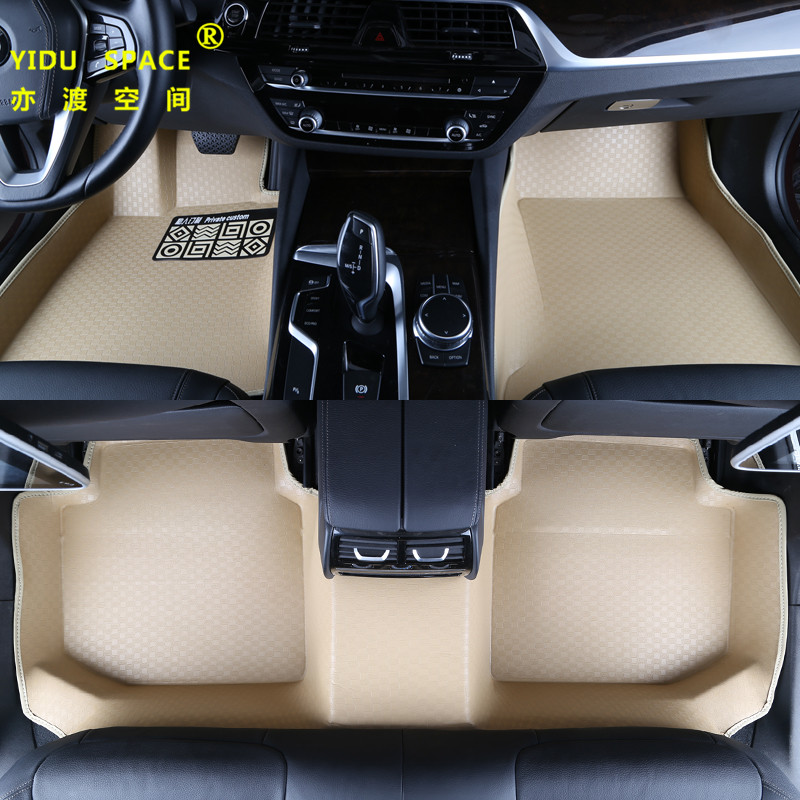 high quality Fully enclosed 5D PU leather Beige car mat car floor mat