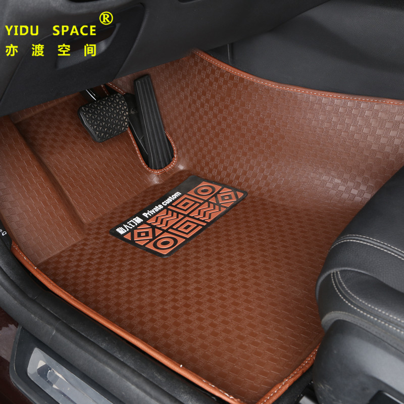 high quality Fully enclosed 5D PU leather brown car mat car floor mat