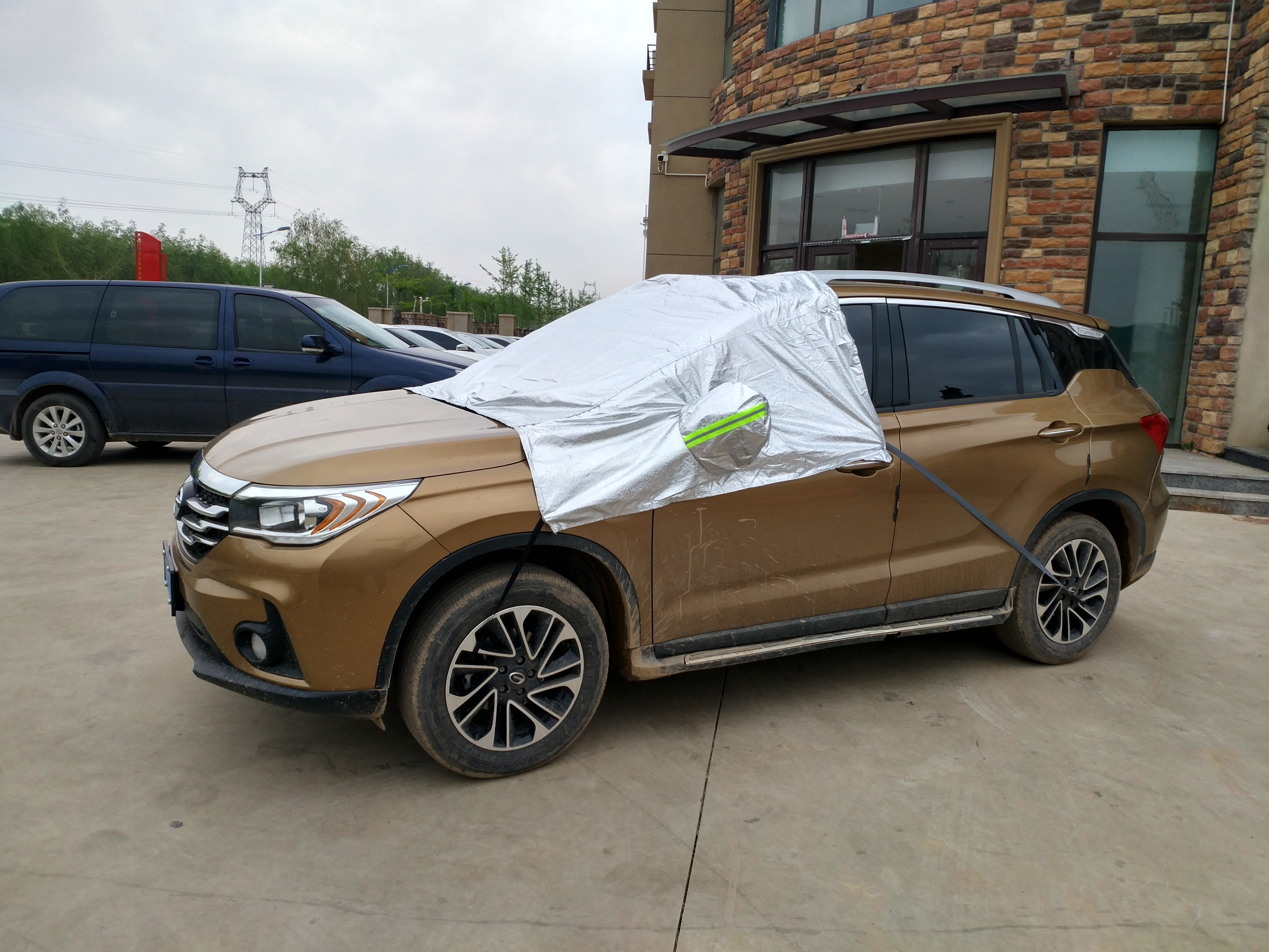 Outdoor Waterproof Sunproof MPV Van SUV Sedan Half Car Cover - 副本